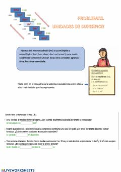 Interactive worksheet Problemas. medida de superficies.