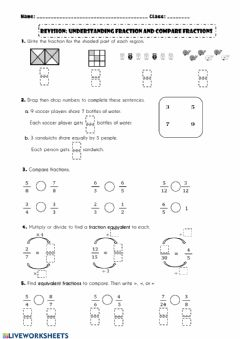 Interactive worksheet Revision: Understanding fraction and compare fractions