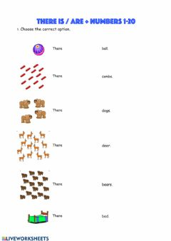 Interactive worksheet There is-are + numbers