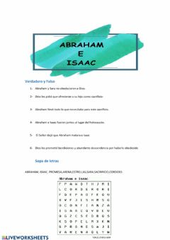 Interactive worksheet Abraham e Isaac