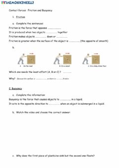Interactive worksheet Friction and buoyancy
