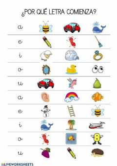 Interactive worksheet Conciencia fonológica vocales