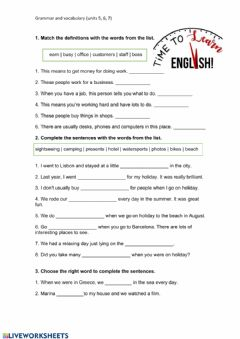 Ficha interactiva Vocabulary and past simple