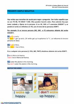 Interactive worksheet Presente simple negativa
