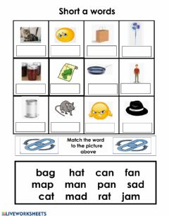 Interactive worksheet Short A Word Box