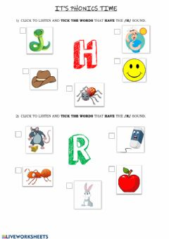 Ficha interactiva Phonics Group 2 (h-r)