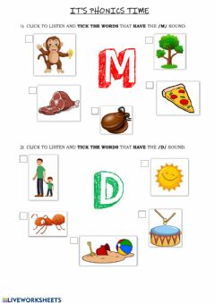 Ficha interactiva Phonics Group 2 (m-d)
