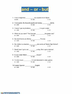 Interactive worksheet Conjunctions