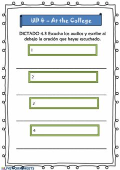 Interactive worksheet At the College - 5º UD 4 - Ficha 13