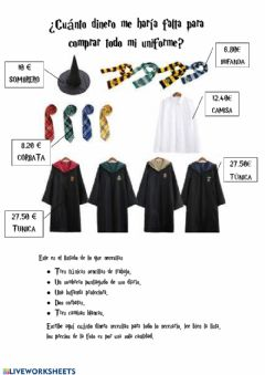 Interactive worksheet Material harry potter suma