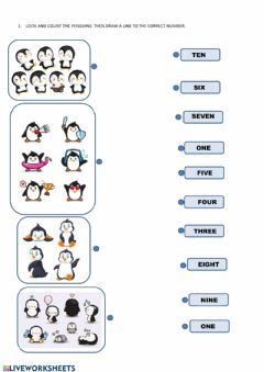Interactive worksheet Count the penguins