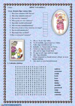 Interactive worksheet Minu vanaema 2 (2.klass)