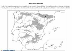 Interactive worksheet Relieve de España