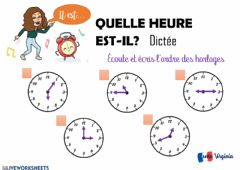 Interactive worksheet Heures