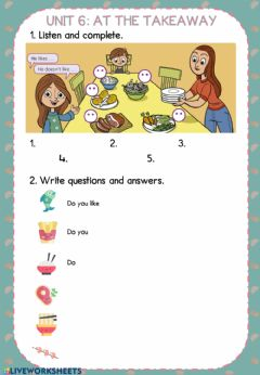 Ficha interactiva Unit 6 - At the takeaway GRAMMAR