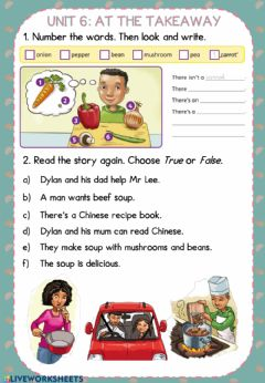 Interactive worksheet Unit 6 - At the takeaway STORY