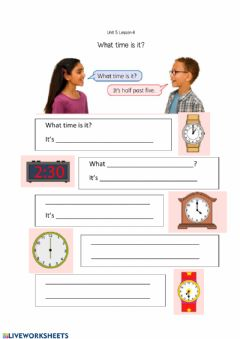 Interactive worksheet What time is it? Rooftops unit 5
