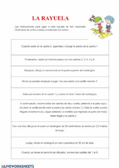 Interactive worksheet JUGAR A LA RAYUELA (texto instructivo)