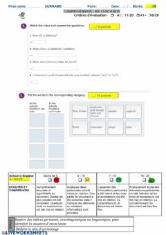 Interactive worksheet My lunch box video