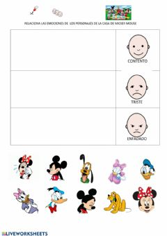 Interactive worksheet Emociones mickey