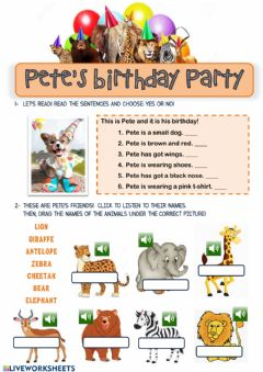 Interactive worksheet Pete's Birthday Party