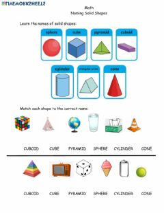 Interactive worksheet Math Solid Shapes April 5th