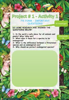 Interactive worksheet Project -1 - 7th form