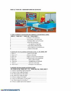 Interactive worksheet There is- There are - Bedroom furniture