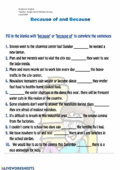 Interactive worksheet Because of and Because
