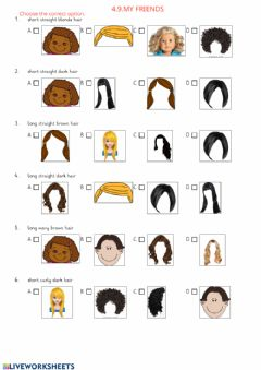 Interactive worksheet 4.9.My Friends-Quiz about hair types