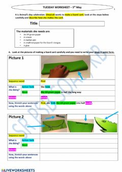 Interactive worksheet Crafts Procedural writing