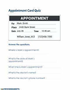 Interactive worksheet Appointment Card Quiz