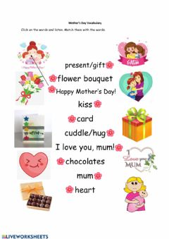 Interactive worksheet Mother's Day Vocabulary