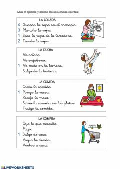 Interactive worksheet Ordena la secuencia escritra