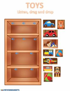 Interactive worksheet Toys listen drag and drop