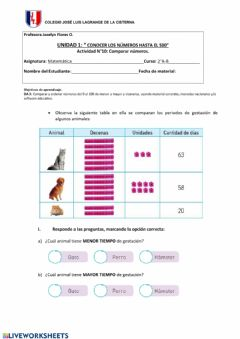 Interactive worksheet Guía N°10 Mtemática