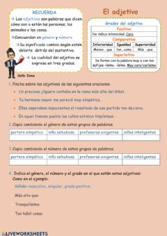 Interactive worksheet El adjetivo