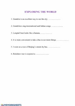 Interactive worksheet Exploring the world
