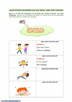 Interactive worksheet Presente progresivo