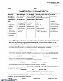 Ficha interactiva Transitional Words and Phrases