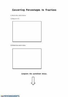 Interactive worksheet Converting Percentages to Fractions