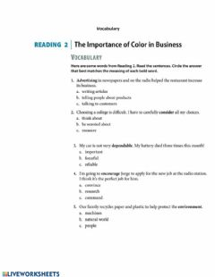 Interactive worksheet Reading: The Importance of Color in Business