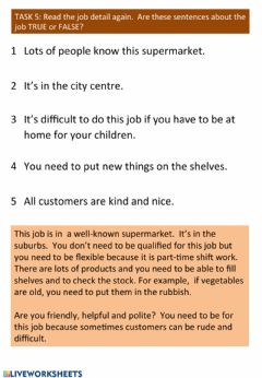 Interactive worksheet Reading a job advert for a shop assistant