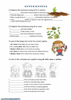 Interactive worksheet Determiners: both, all, neither, none