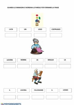 Interactive worksheet Riordino frasi