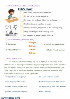Interactive worksheet PAST TENSE - listening and reading