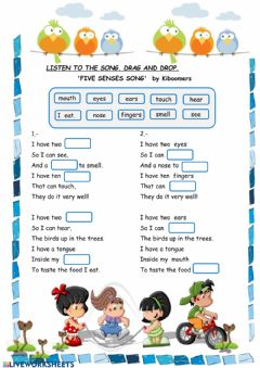 Interactive worksheet The five senses song