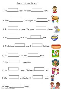 Interactive worksheet Verb to be and have got