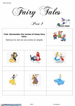 Interactive worksheet Fairy tales black slope