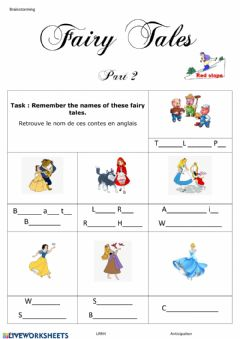 Interactive worksheet Fairy tales red slope